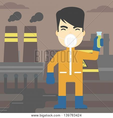 An asian scientist in radiation protective suit. Man holding a test-tube with some liquid on a background of nuclear power plant. Vector flat design illustration. Square layout.