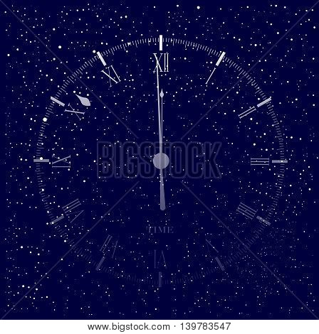 An old English office type clock face showing midnight over a star cluster background