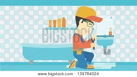 An asian plumber sitting in a bathroom and repairing sink pipe. Plumber with wrench repairing a broken sink in bathroom. Vector flat design illustration. Horizontal layout.