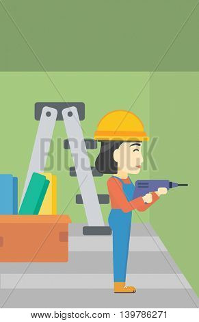 An asian female worker drilling a hole in the wall. A man in overalls and hard hat working with hammer drill. Vector flat design illustration. Vertical layout.