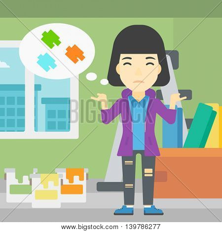 A doubtful asian woman choosing color for walls in apartment. Woman with spread arms choosing a color of paint. Vector flat design illustration. Square layout.