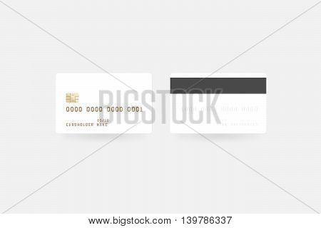 Blank white credit card mockup isolated clipping path front and back side 3d illustration. Empty plastic card mock up. Clear surface bank card with electronic chip. Debit card design template.