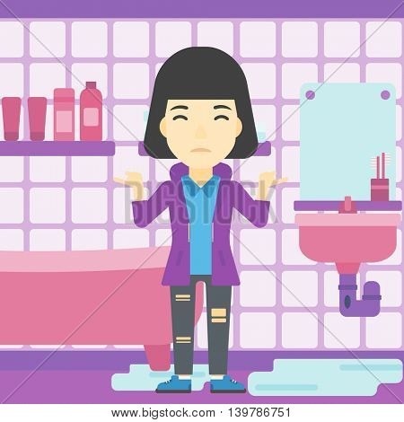 An asian woman with spread arms standing near leaking sink in the bathroom vector flat design illustration. Square layout.