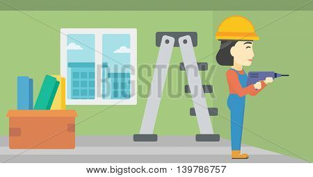 An asian female worker drilling a hole in the wall. A man in overalls and hard hat working with hammer drill. Vector flat design illustration. Horizontal layout.