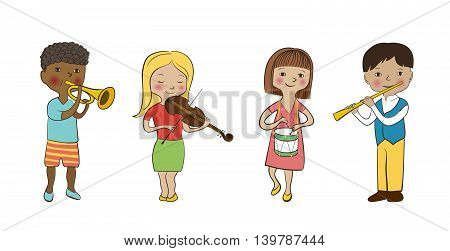 Violinist girl, flutist boy drummer and trumpeter kids. Musician children set. Flat sketch, doodle style vector. Funny cute kids with musical instruments.