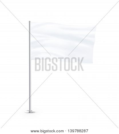 Blank white flag mock up stand at white background isolated 3d illustration. Large wavy flagpole mockup ready for business logo design presentation. Surrender symbol empty banner. Clear standart sign.
