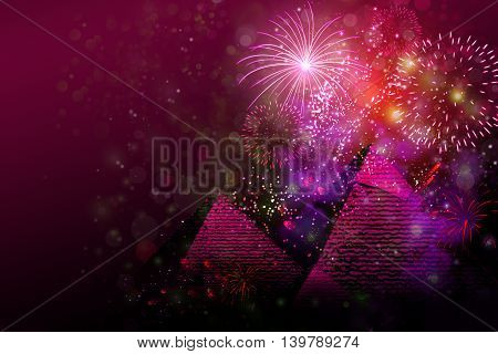 Fireworks above pyramids of Giza in Egypt