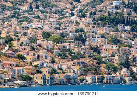 Houses in Gialos Harbor. Symi Island Greece Europe