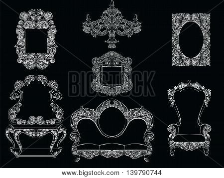 Glamorous Rich Baroque Rococo Furniture set. French Luxury rich carved ornaments furniture. Vector Victorian exquisite Style decor poster