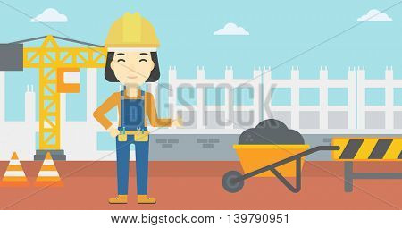 An asian builder in helmet giving thumb up. A builder with thumb up on a construction site. A woman giving thumb up on a background of road works. Vector flat design illustration. Horizontal layout.