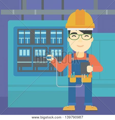 An asian man in helmet measuring the voltage output. Young electrician with electrical equipment standing in front of switchboard. Vector flat design illustration. Square layout.