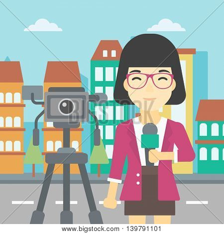 An asian reporter with microphone standing on a background with camera. TV reporter presenting the news. TV transmission with a reporter. Vector flat design illustration. Square layout.