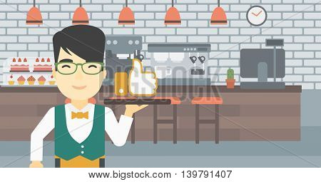 An asian young waiter carrying tray with like button. Waiter holding restaurant tray with like button on a cafe background. Vector flat design illustration. Horizontal layout.