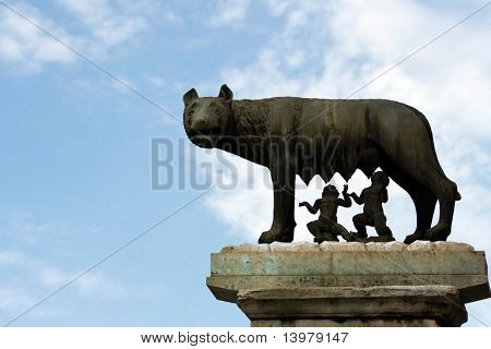 She-wolf breast-feed Romulus and Remus. Place of foundation of Rome.