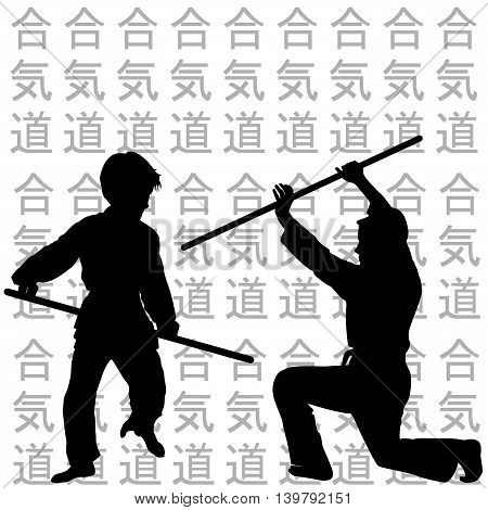 Illustration of children black silhouettes practicing Aikido