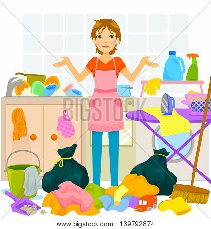 young woman overwhelmed by too much housework