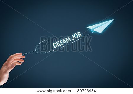 Dream about the best job concept. Manager throw a paper plane symbolizing dream job.