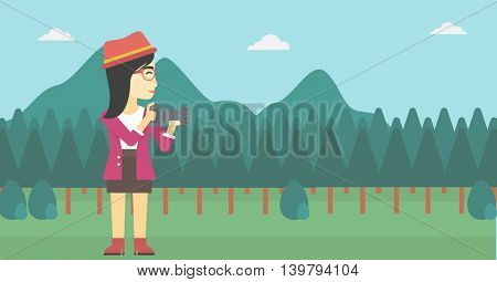 An asian young woman taking a photo of landscape. Photographer taking a picture in the mountains. Nature photographer with digital camera. Vector flat design illustration. Horizontal layout.