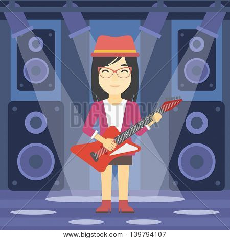 An asian young musician playing electric guitar on the stage of nightclub. Woman practicing in playing guitar. Guitarist playing music. Vector flat design illustration. Square layout.