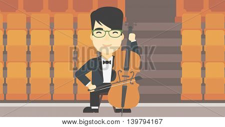 An asian young man playing cello. Cellist playing classical music on cello. Young man with cello and bow on the background of empty theater seats. Vector flat design illustration. Horizontal layout.
