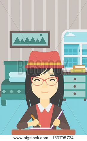 An asian female journalist sitting at the table and writing in notebook with pencil. Female journalist writing notes on the background of bedroom. Vector flat design illustration. Vertical layout.