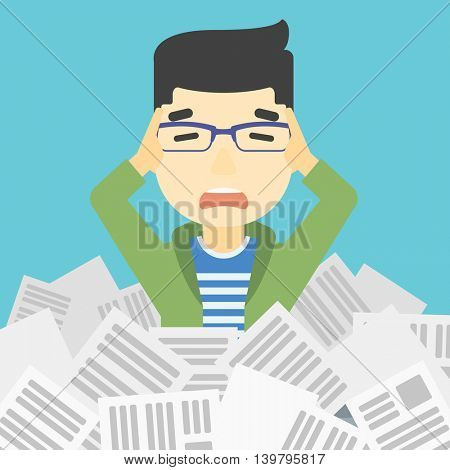 An asian stressed man clutching his head because of having a lot of work to do. Busy businessman with lots of papers. Vector flat design illustration. Square layout.