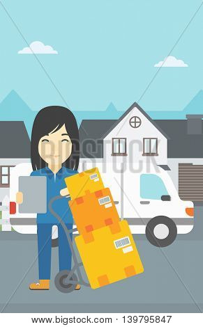 An asian delivery woman with cardboard boxes on troley. Delivery woman with clipboard. Woman standing in front of delivery van. Vector flat design illustration. Vertical layout.