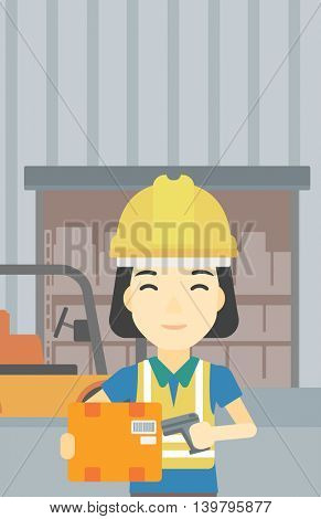 An asian warehouse worker scanning barcode on box. Warehouse worker checking barcode of box with a scanner. Woman in hard hat with scanner. Vector flat design illustration. Vertical layout.