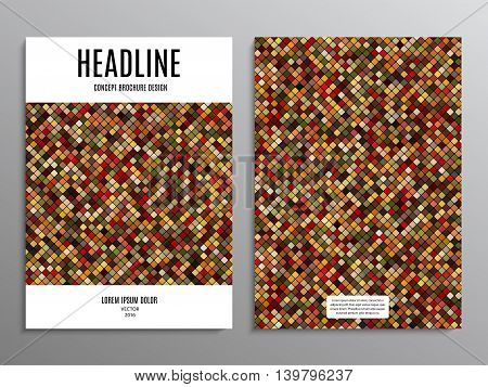 business brochure template or layout design flyer in A4 size with abstract mosaic background. stock vector illustration eps10