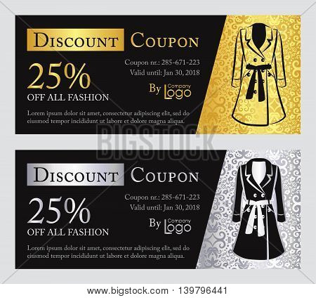 Fashion discount coupon with line illustration of pumps on gold and silver background with vintage pattern