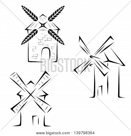 Set of logo of windmills on a white background