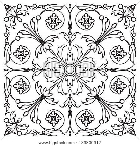 Hand drawing pattern for tile in black and white colors. Italian majolica style. Vector illustration. The best for your design textiles posters