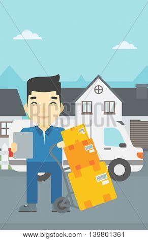 An asian delivery man with cardboard boxes on troley. Delivery man with clipboard. Man standing in front of delivery van. Vector flat design illustration. Vertical layout.