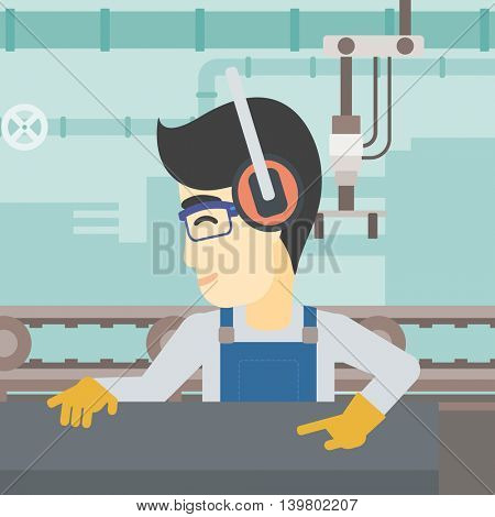 An asian man working on metal press machine. Worker in headphones operating metal press machine at factory workshop. Vector flat design illustration. Square layout.