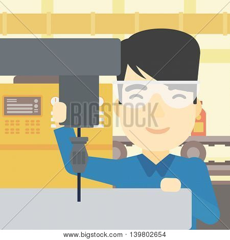 An asian man working on a milling machine at workshop. Man using milling machine at factory. Man making a hole using a milling machine. Vector flat design illustration. Square layout.