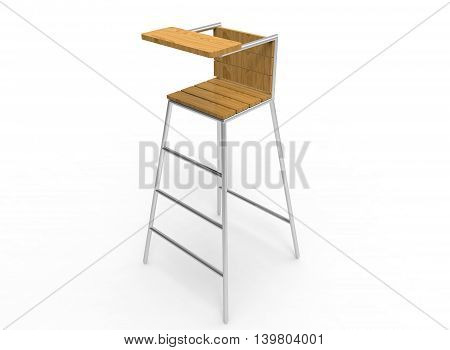 3d illustration of umpire chair. white background isolated. wood and steel. icon for game web. sport attribute.