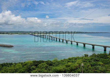 Kurima Bridge in Miyako Island of Okinawa, Japan.