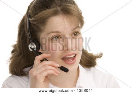 Female Operator Speaking Into Headset