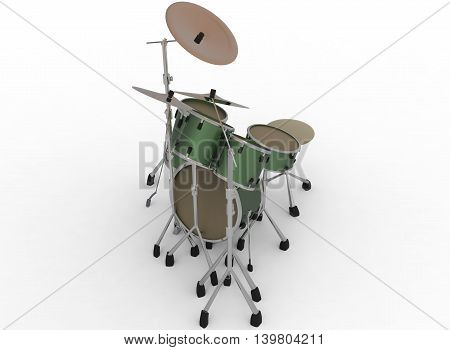 3d illustration of drum set. white background isolated. icon for game web. kit for drummers.  percussion instruments. trap set.