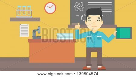 An asian student using a tablet computer in training class. Young man with tablet computer pointing forefinger up. Education technology. Vector flat design illustration. Horizontal layout.