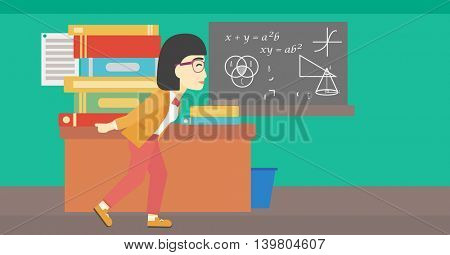 An asian tired student carrying a heavy pile of books on his back. Student with pile of books in the classroom. Student with many books. Vector flat design illustration. Horizontal layout.