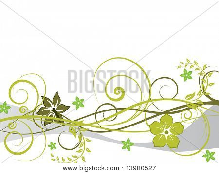 Floral Vector Hintergrund mit Blättern und Blumen