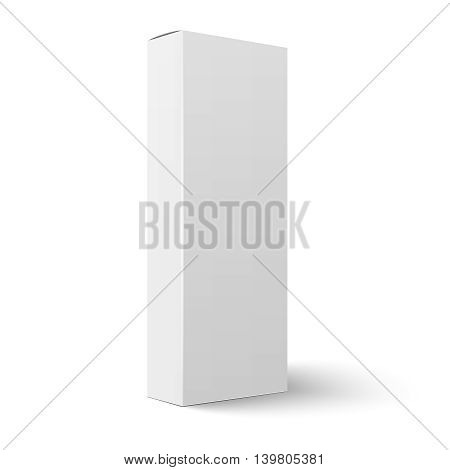 Slim blank cardboard box template for long pasta. Vertical orientation. Vector illustration. Packaging collection.