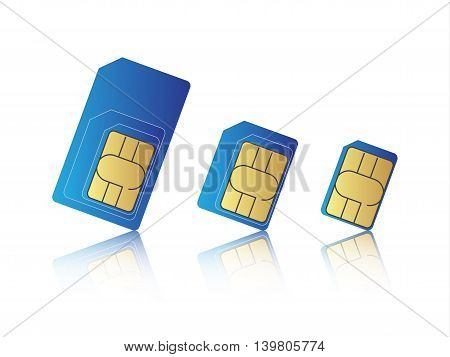 Mobile phone sim card set standard micro and nano sim card vector illustration poster