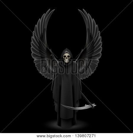 Grim Reaper with two wings up over black background