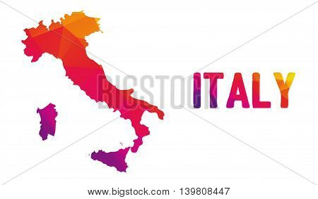 Low polygonal map of Italy in warm colors Italian Republic Repubblica Italiana - Europe EU G8 - G7; Mosaic colorful abstract geometry cartography icon