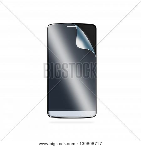 Phone protection film on screen 3d illustration. Smartphone display with protector glass. Isolated on white. Mobile electronic protected with protective film. Safety clear insure from scratch. Protect presentation