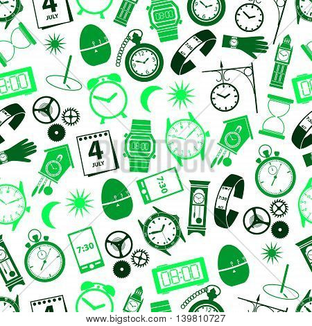 Time Theme Modern Simple Icons Seamless Color Pattern Eps10