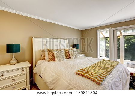 Elegant Bedroom In American Style With White Double Bed