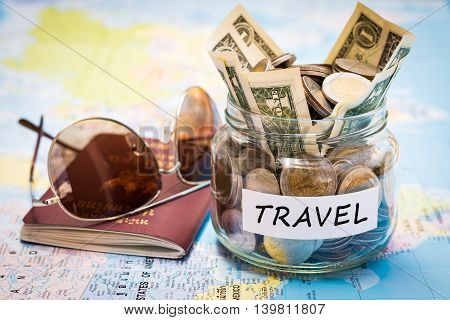 Travel Budget Concept With Passport And Sunglasses